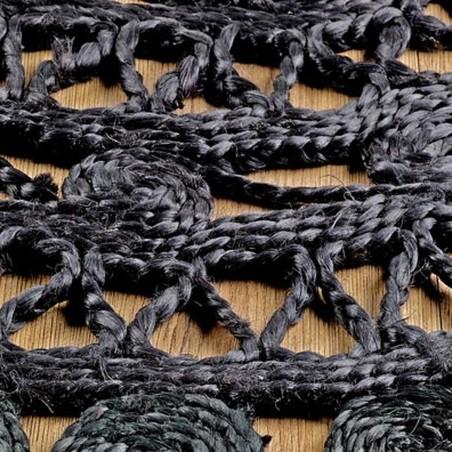 Zarla Round Rug - Black Pattern detail