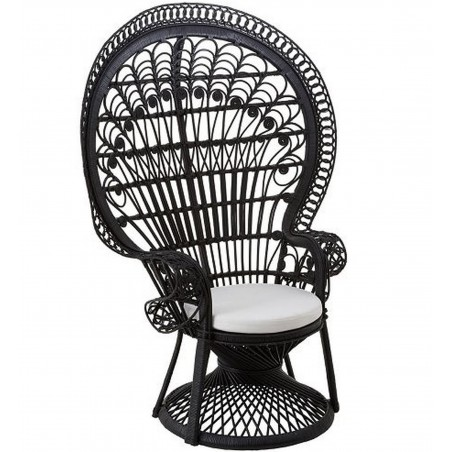 Faiza Peacock Chair, black front angled view