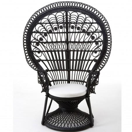 Faiza Peacock Chair, black front view
