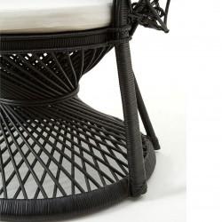 Faiza Peacock Chair, black, close up of base