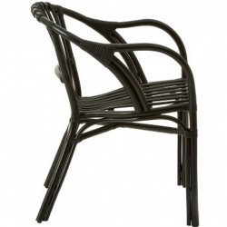 Havana Rattan Armchair - Black Side View