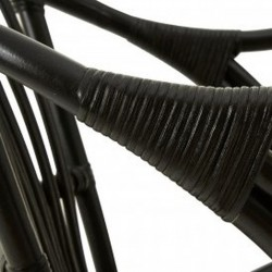 Havana Rattan Armchair - Black Arm Detail