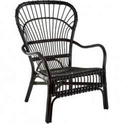 Havana High Back Rattan Armchair - Black