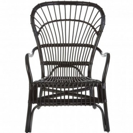Havana High Back Rattan Armchair - Black Front View