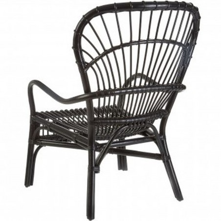 Havana High Back Rattan Armchair - Black Rear View