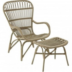 Havana Low Rattan Armchair & Footstool - Grey