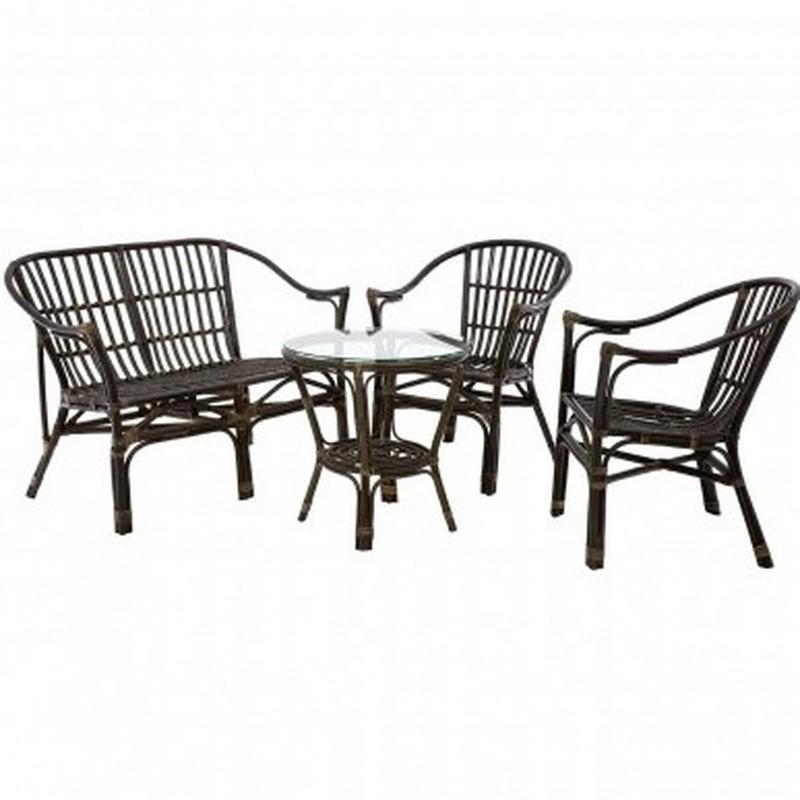Corvetto Four Piece Rattan Furniture Set -Black