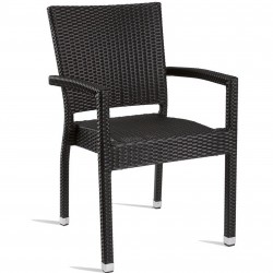 Rattan Garden Arm Chair in Black