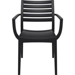 Sorano Black Plastic Garden Armchair Front View