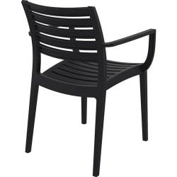 Sorano Black Plastic Garden Armchair Rear View