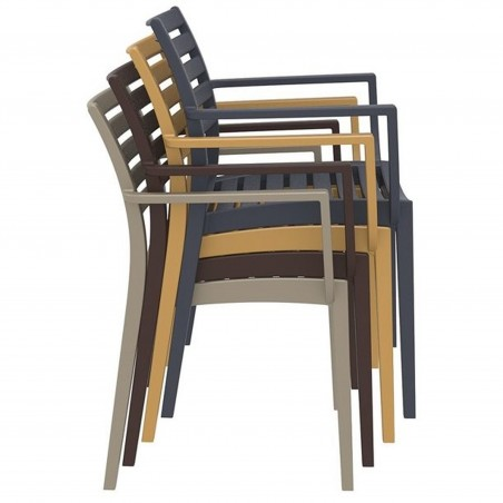 Sorano Taupe Plastic Garden Armchair Stacking Feature