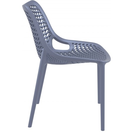 Dylan outdoor Chair in dark grey Side View