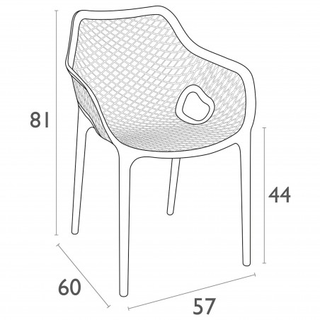 Dylan armchair - Dimensions