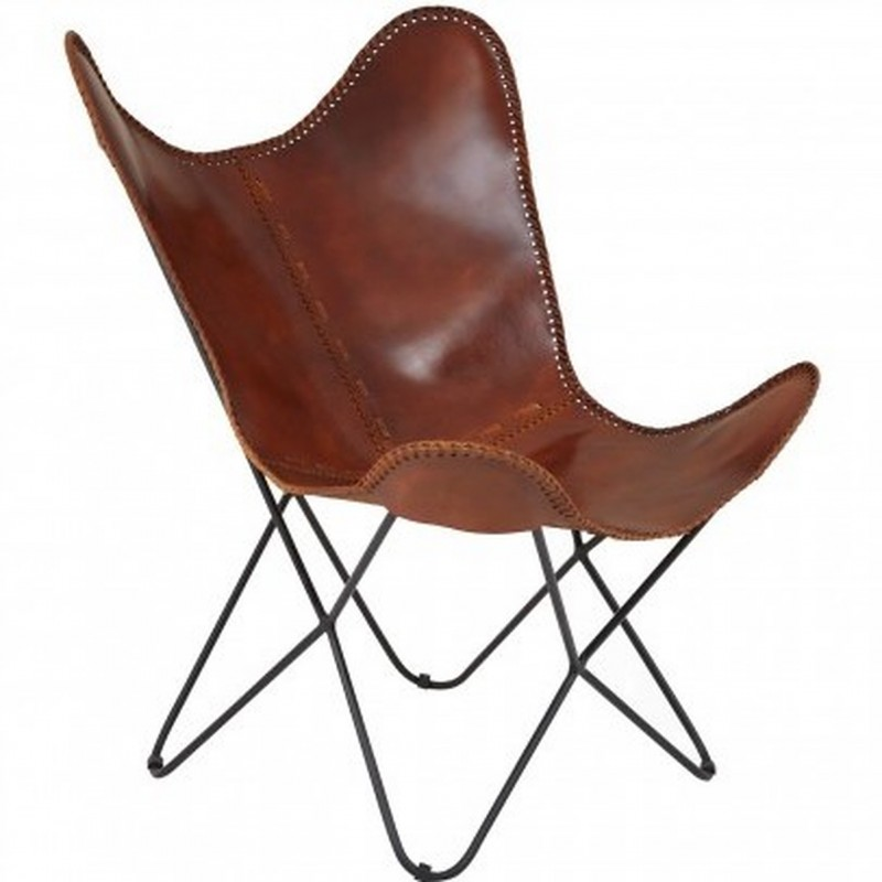 Keady Butterfly Chair, Tan front angled view
