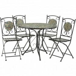 Saria Mosaic 4 Chairs And Table Set