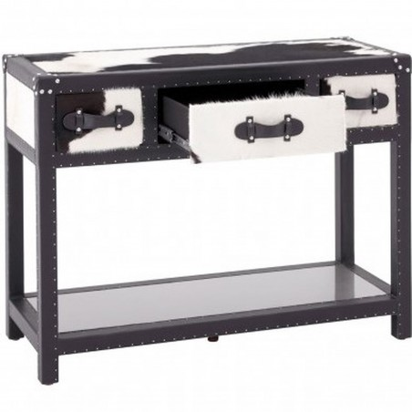 Haze Cowhide Console Table with drawers open