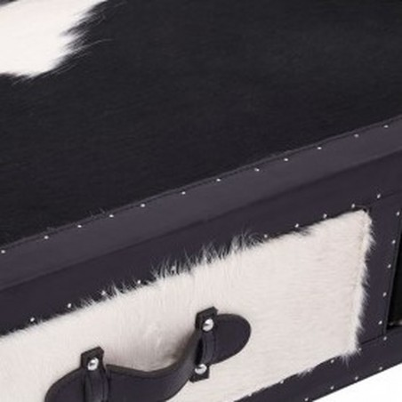 Haze Cowhide Console Table close up of drawer