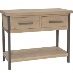 compact metal framed reclaimed pine console table