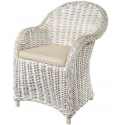 washed-out white natural rattan armchair with stone cushion