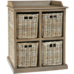 4 rattan basket chest of drawers grey
