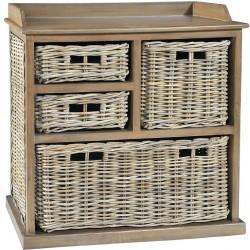 natural rattan 3 basket over 1 storage unit