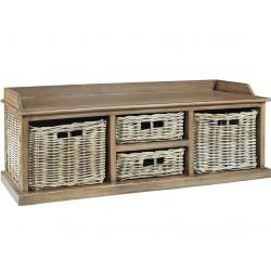low profile 4 baskets natural rattan storage unit - grey