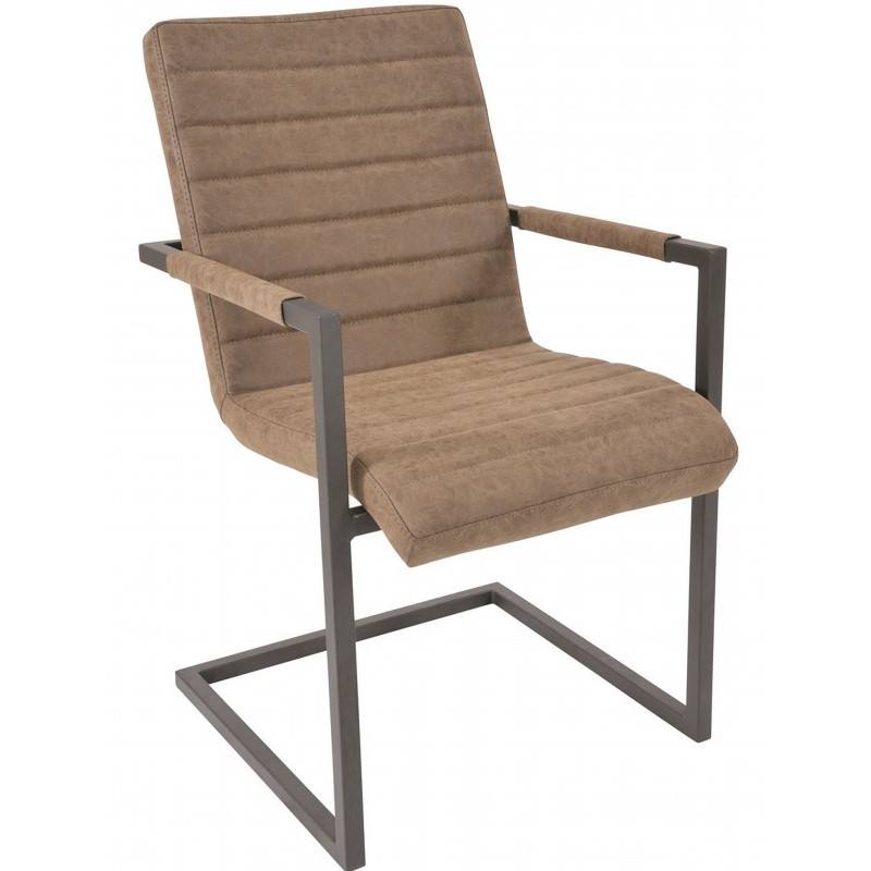 Brighton Industrial Faux Brown Leather Upholstered Chair