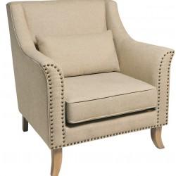 Sasha Upholstered Cream Fabric Armchair