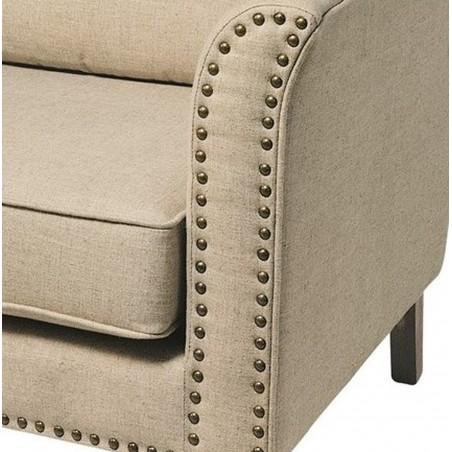 Sasha Upholstered Cream Fabric Armchair Stud Detail