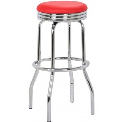 Retro Bar Stool, red front angled view