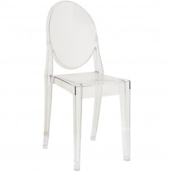 Ghost Transparent Plastic Chair in clear, angle view