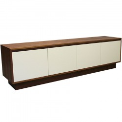 hinton walnut tv unit vanilla doors - front angle