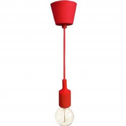 Logorno Coloured Pendant Light Red  with bulb