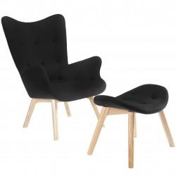 Bilto Lounge Chair & Ottoman Black