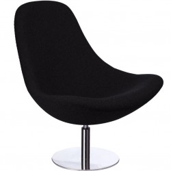 Hede Lounge Chair Black Front Angled View