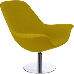 Bratten High Back Lounge Chair Mustard, Angled Front View