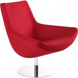 Gauto Modern Cashmere Lounge Chair - Red Front Angled View