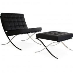 Barcelona Style Chair & Ottoman - Black