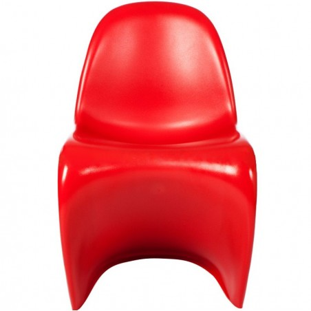 Verner Panton Inspired S -Shape  Chair - Red Front View