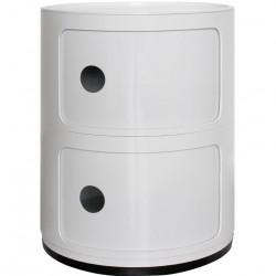 2 Tier Round Componibili Storage Units- white Closed  view