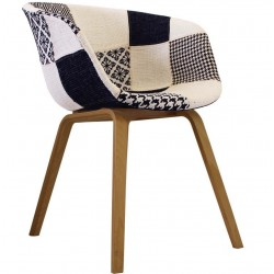HAY Natural leg Fabric Armchair Black/White Angle View