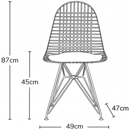 DKR Wire Chairs - Dimensions