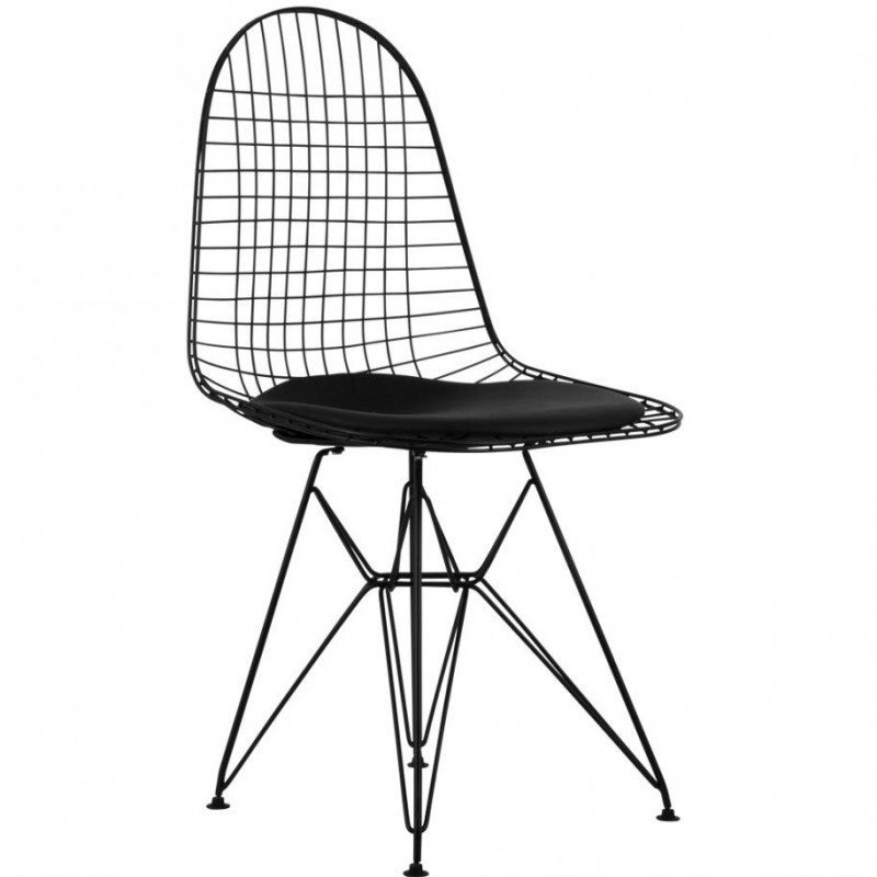 DKR Wire Chairs Black Angled View
