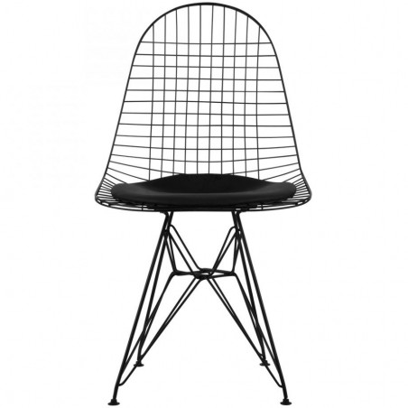 DKR Wire Chairs Black Front View