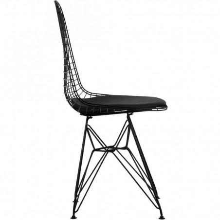 DKR Wire Chairs Black Side View
