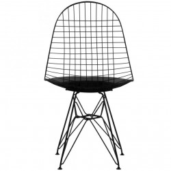 DKR Wire Chairs Black Rear View