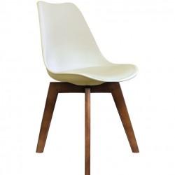 DSW Chair - Vanilla walnut legs Angled view