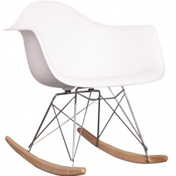 Eames RAR Style Rocking Chair - White Natural - Angled View