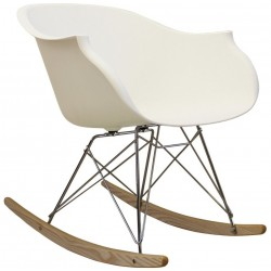 Designer Moulded Rocking Chair - White Chrme/Nat Angled View