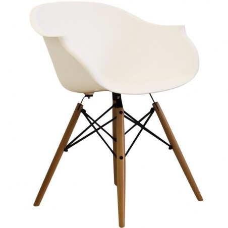 Eames Style DAW dining armchair in white and natural wooden legs